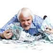 Man lying in the money — Stock Photo