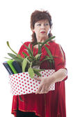 Fired woman carrying a box of personal items — Stock Photo