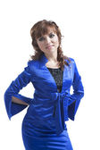 Beautiful woman posing in a blue suit — Foto Stock
