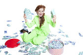 Happy woman with money in a box — Stock Photo
