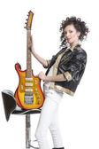 Girl with  electro guitar — Zdjęcie stockowe