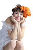 Woman with orange bow — Stock Photo