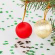 Two Christmas balls on the tree — Stock Photo