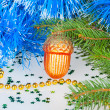 Christmas bump under the Christmas tree with decorative ornament — Stock Photo