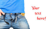 Man in jeans unzipped with a condom in pocket — Fotografia Stock