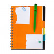 Note paper and orange notebook with green pen — Stock Photo #50675329