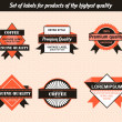 Set of labels for products of the highest quality — Stock vektor