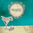 Vintage quality label with cocktail — Stock Vector