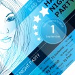 Night party design poster with fashion girl — Image vectorielle