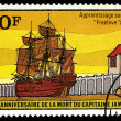 TOGOLESE REPUBLIC - CIRCA 1979: a stamp shows a research vessel of James Cook expedition — Stock Photo #39870787