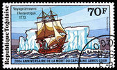 TOGOLESE REPUBLIC - CIRCA 1979: a stamp shows a research vessel of James Cook expedition — 图库照片