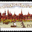 POLAND - CIRCA 1983: a stamp printed in Poland shows a panorama of Torun old city. CIRCA 1983 — Stock Photo