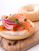 Lox and Bagel with Cream Cheese — Stock Photo