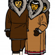 Traditional Eskimo Family — Stockfoto