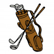 Old Golf Bag And Clubs — Stock Photo