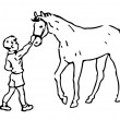 Hand Drawn Boy And Horse — Stock Photo
