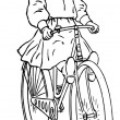 Hand Drawn Girl Riding A Bicycle — Stock Photo