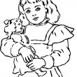 Hand Drawn girl holding doll — Stock Photo