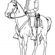 Hand Drawn soldier on horseback — Stock Photo