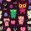 Seamless pattern of funny monsters - Stock Vector