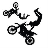 Silhouette of motorcycle rider performing trick — Stock Photo