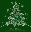 Christmas card with tree and ornaments, Xmas card — Vettoriali Stock