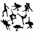 Figure skating silhouette vectors — Stock Vector