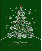 Julkort med träd och ornament, xmas card — Stockvektor