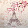 Vintage vector illustration of Eiffel tower on grunge background — Stock Vector