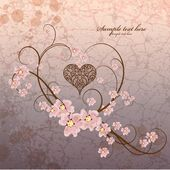Vintage ornamental frame heart on grunge background — 图库矢量图片
