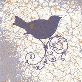 Ornamental bird on grunge background — Stock Vector