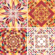 Set of four abstract background with geometric shapes. Triangle colorful mosaic backdrop. — Vettoriali Stock