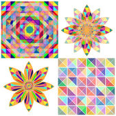 Set of four abstract background with geometric shapes. Triangle colorful mosaic backdrop. — Stock Vector