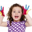 Young girl with painted fingers isolated on a white background — Stock Photo #25400231