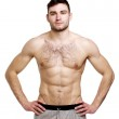 Topless man stood isolated on a white background — Stock Photo #26085291