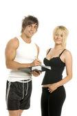 Mężczyzna i kobieta, wypełnianie formularzy na białym tle na białym tle — Zdjęcie stockowe