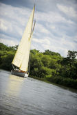 Norfolk Broads sail boat sailing down a river — Stock Photo