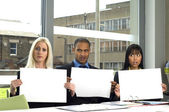 Three workers in a business meeting — Stock Photo