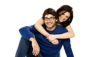 Beautiful couple smiling isolated on a white background — Stock Photo