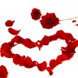 Red rose petals in a heart shape — Stock Photo
