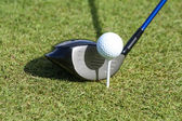 Golf ball and club in grass — Stock Photo