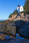Bass Harbor lighthouse  in the morning sunlight — Stock Photo