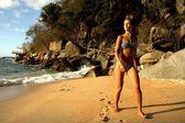Beautiful young woman on beach — Stock Photo