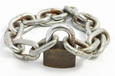 Rusty chain and lock — Stock Photo