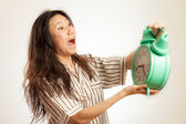 Asian woman oversleep — Stock Photo