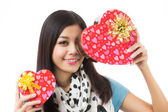 Asian woman valentines day — Stock Photo