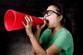 Asian woman yelling — Stok fotoğraf