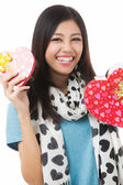 Asian woman valentines day — Stockfoto