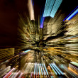 Colourful streaks of lights from a city building  — Stock Photo