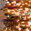 Load of colourful construction timber — Photo